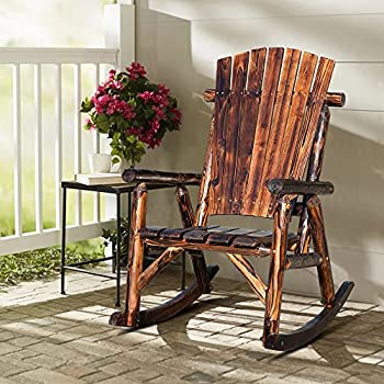 Single Outdoor Patio Chair Rustic Rocker Chair For Backyard (Rustic Brown)