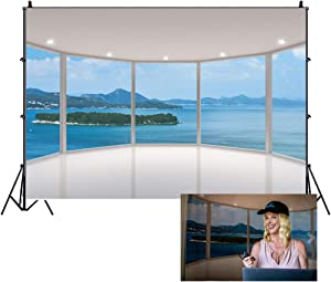 Leowefowa 7X5FT Sea View Room Backdrop Seaside Mountain Island Ocean Backdrops for Photography French Window Stage Lights Interior Vinyl Photo Background Bride Lover Summer Holiday Travel Studio Props