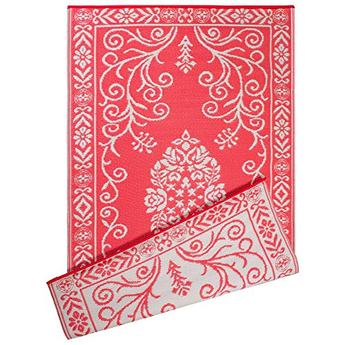 DII Contemporary Indoor/Outdoor Lightweight Reversible Fade Resistant Area Rug, Great For Patio, Deck, Backyard, Picnic, Beach, Camping, & BBQ, 4 x 6', Coral Garden Floral (Coral Colored Rugs)