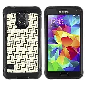 Suave TPU Caso Carcasa de Caucho Funda para Samsung Galaxy S5 SM-G900 / Diagonal White Gold Pattern / STRONG