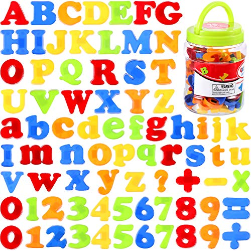 Boao Magnetic Letters and Numbers for Kids Educational Alphabet Refrigerator Magnets 78 Pieces in 0.78 -1.4 Inch