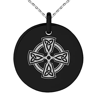 Amazon Black Stainless Steel Celtic Cross Triquetra Knot Symbol