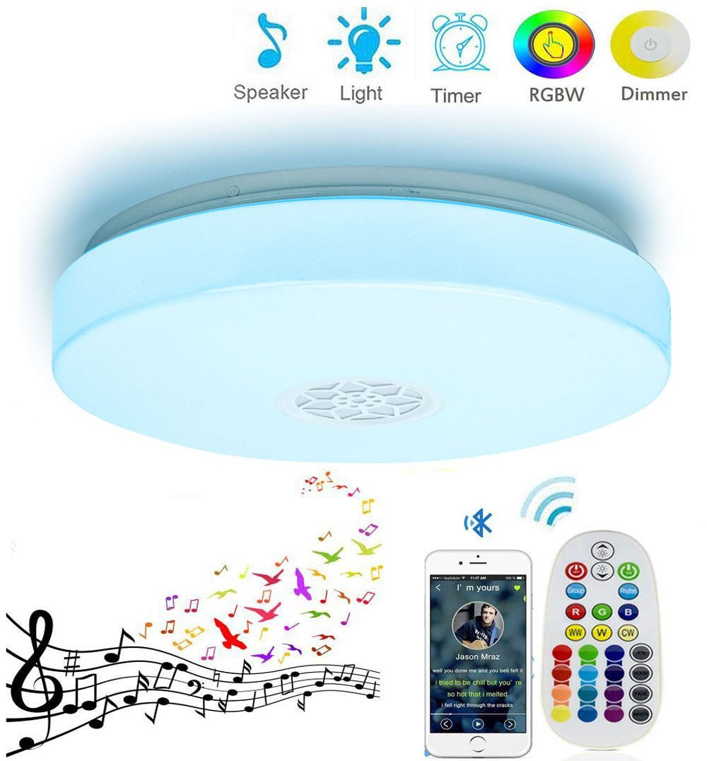 Huamai Ceiling Light 24W Smart RGB Color Changing Dimmable with Bluetooth Speaker and Remote Controller for Living Room, Bedroom, Dining Room, and Bathroom