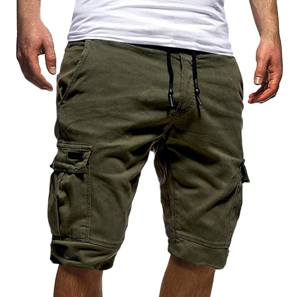 Tomwell Uomo Pantaloni Corti Bermuda Cargo Pantaloncini Uomo Cotone Lavoro Pantaloni Tasconi con Elastico Pantofole Estive Casual Pantaloncino Sportivi