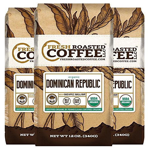 Organic Dominican Republic Coffee - Direct Trade , 12 oz. Whole Bean Bags, Fresh Roasted Coffee LLC. (3 Pack)