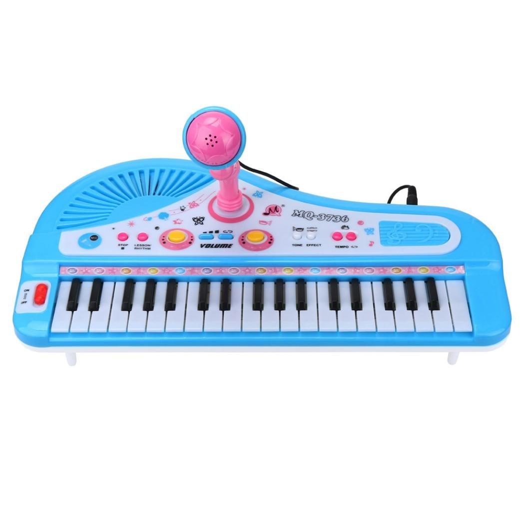 Piano Électrique 37Touches Mamum Taille unique bleu
