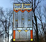 17'' x 34'' Stained glass Beveled clear window panel FRANK LLOYD WRIGHT ''TREE OF LIFE''