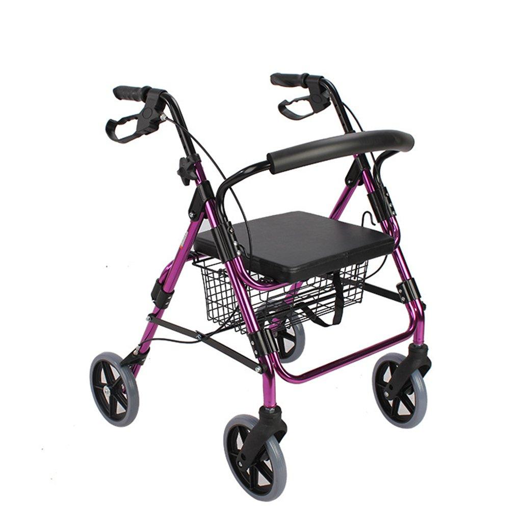高齢者にも適用可能ウォーカーロール4段ラバーレザーシート付きアルミ合金製バスケット付便利な身体障害者折りたたみモビリティ B07DBWMQDY
