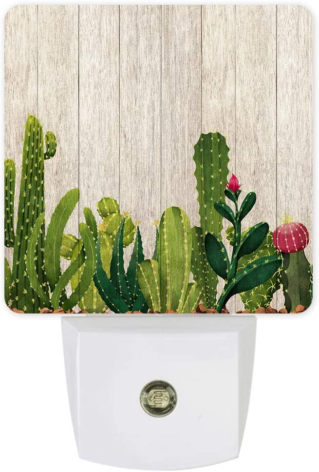 Plug-in LED Night Lights Lamp Cactus Flowers on Rustic Wood Printed Auto Dusk-to-Dawn Sensor for Bedroom, Bathroom, Kitchen, Nursery,Hallway,Stairs,Wall Home Decor, Vintage Styles