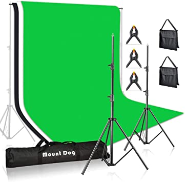 and Carry Bag for Portrait,Photo Video,Photography Studio MOUNTDOG Photo Backdrop Stand Kit 10x6.5ft Background Stand Support System with 3 Muslin Backdrop Kits White//Black//Chromakey Green Screen Kit