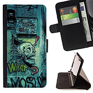 BullDog Case - FOR/HTC One M7 / - / grafiti street art drawing skull quote slogan /- Monedero de cuero de la PU Llevar cubierta de la caja con el ID Credit Card Slots Flip funda de cuer
