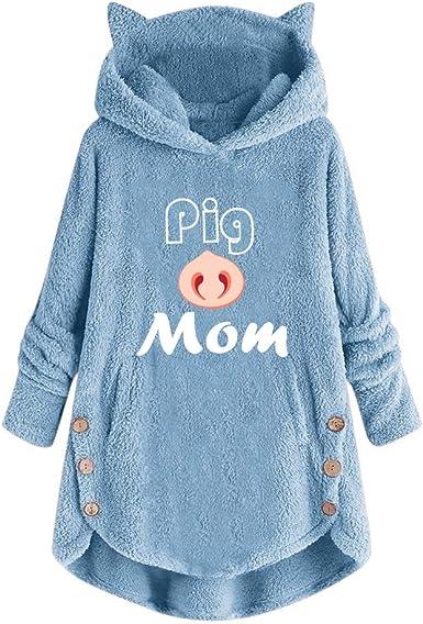 TUDUZ Sudadera con Capucha Mujer Jersey Algodón Pijama Hoodie Botón Abrigo Cálido Talla Extra S-5XL: Amazon.es: Ropa y accesorios