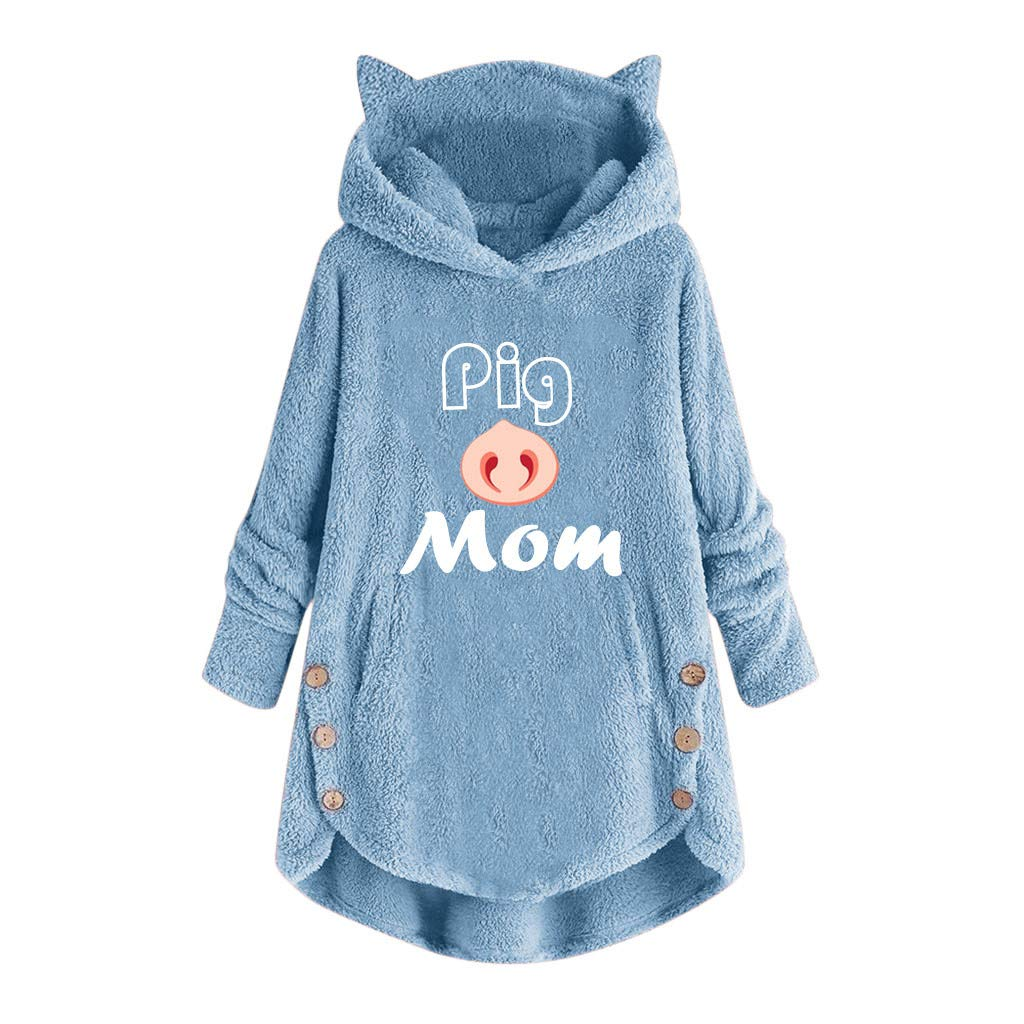 Aritone Womens Hooded Pullover Cotton Button Coat Letter Embroidery Loose Sweater Blouse Coat Plus Size S-5XL (3X-Large, Blue) by Aritone