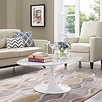 Sensational Modway Lippa Mid Century Modern 48 Oval Artificial Marble Coffee Table Top White Base Cjindustries Chair Design For Home Cjindustriesco