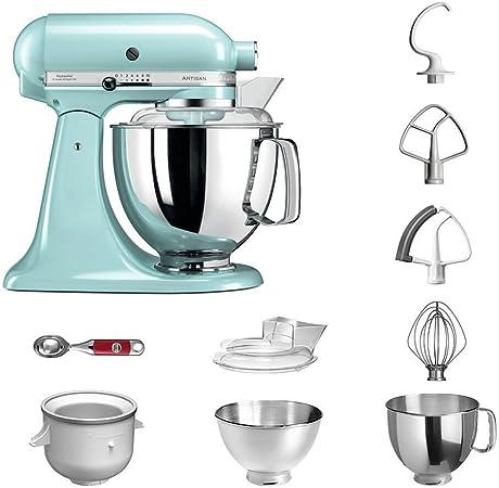 Robot de cocina, de KitchenAid, juego Artisan 5KSM175PS, incluye heladera y cuchara para helado para postres caseros azul claro: Amazon.es: Hogar