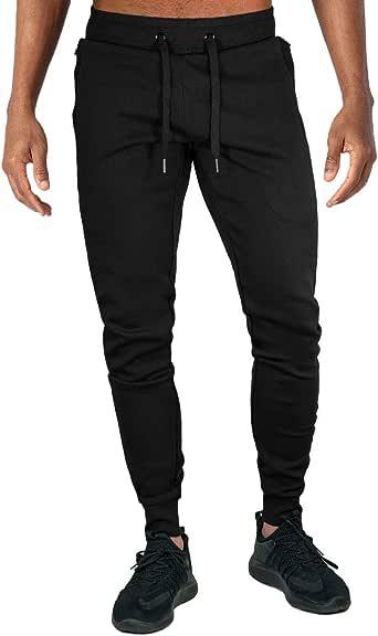 TOTNMC Men's Running Pants Elastic Waist Atheletic Pants for Men Casual Slim Pants with Zipper Pockets