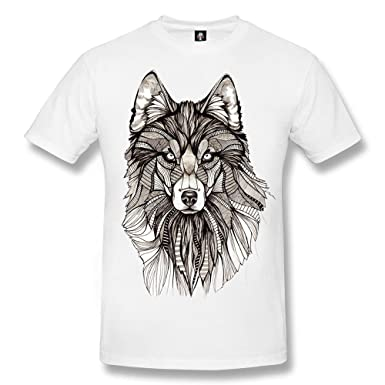 db3a31d14bb5e Wolf Tattoo White T-Shirt Biker Celtic Dream Catcher Native Moon Wild Top  Tee: Amazon.co.uk: Clothing