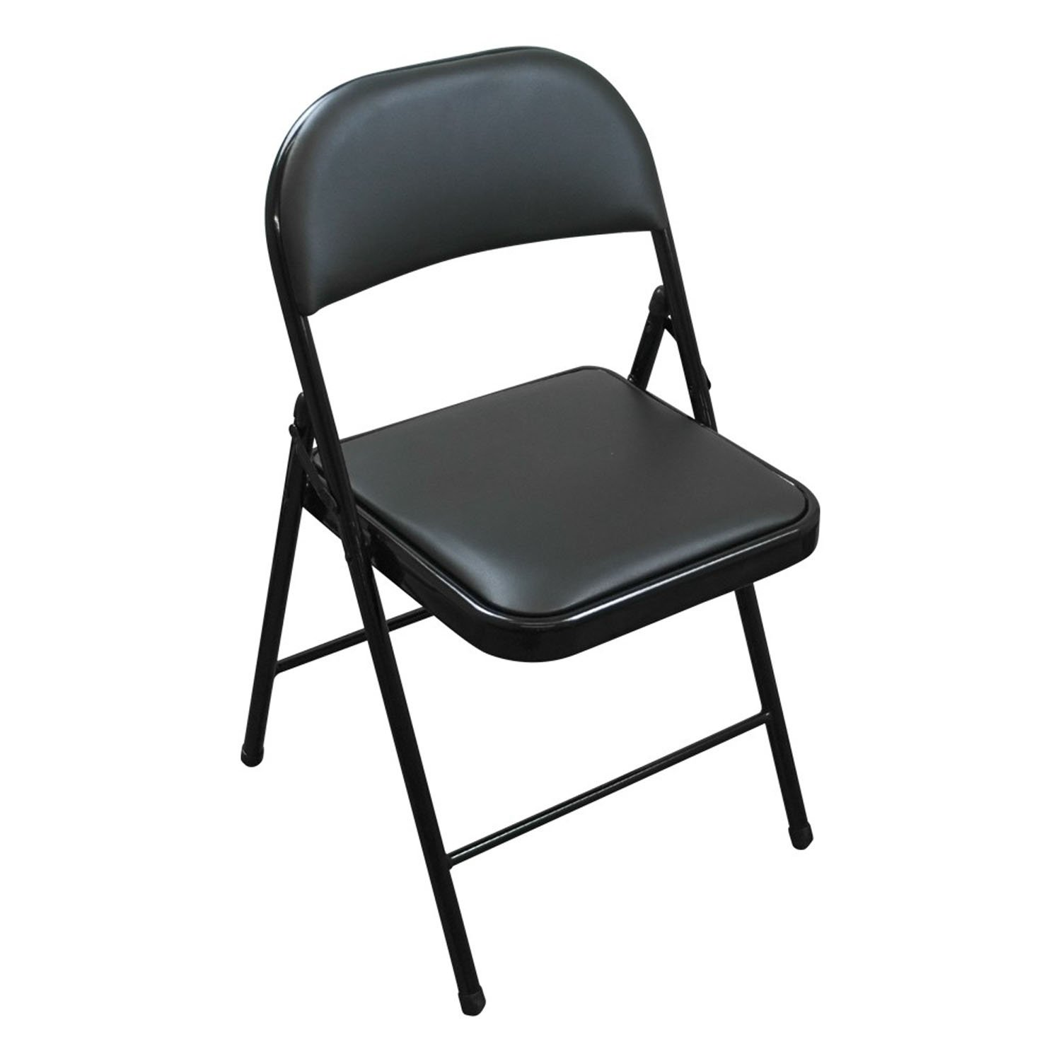 Folding Faux Leather Chair - Padded for Comfort - Strong Steel - Great for Guests TekBox