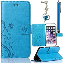 Samsung S Duos S7562 (GT-S7562 / S7560M Galaxy Ace II X)/Samsung Galaxy S Duos / S Duos 2 (GT-S7562 / GT-S7582) Leather Case, [ Stand Function ] [ Card Holder ] Sunroyal Flip PU Leather Case Cover Flip Folio Wallet Case in Book Style TPU Inner Gel Case Soft Thin Silicone Back Bumper with Magnetic Closure 1x Metal Stylus Touch Pen + 1x 3.5mm Universal Butterfly Bow Bling Pendant Rhinestone Crystal Anti Dust Plug , Butterfly Pattern ,Blue
