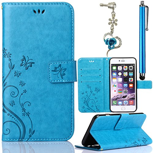Htc Diamond Design Snap (HTC One A9 Case, Bonice 3 in 1 Set PU Leather Flower Butterfly Pattern Flip Book Style Magnetic Snap Wallet Case [Card Slots] Premium Multi-Function Design Cover + Stylus Pen)