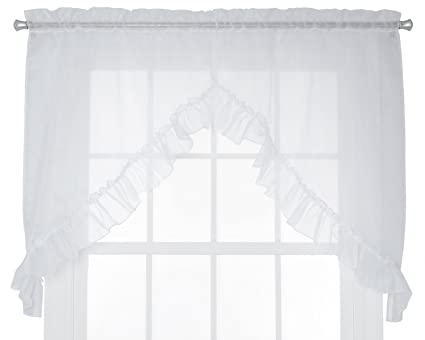 Ellis Curtain Jessica Sheer Ruffled Swag Curtains, 60 by 35-Inch, White