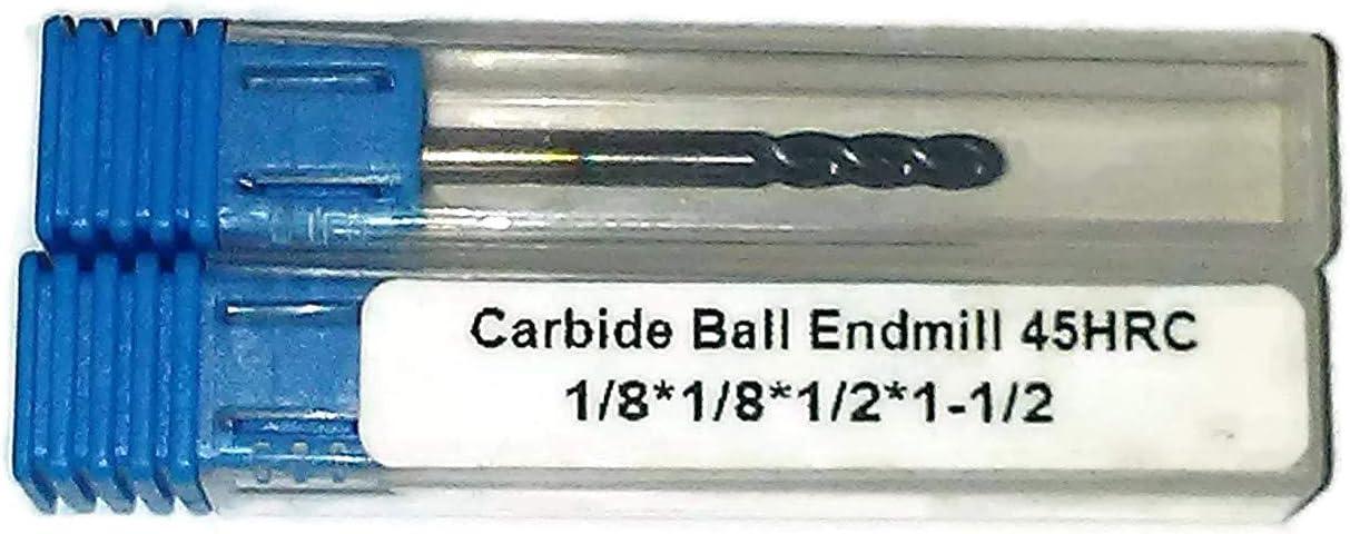 2 pack 1//8 Ball Nose Carbide Endmill AlTiN 45HRC 4 flute