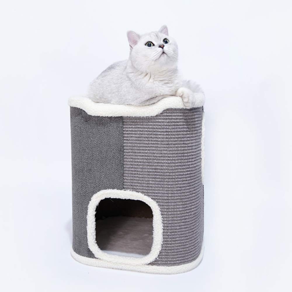 B Luxury sisal cat nest, Claws + Jumping Platform + Rest Three-in-one, Large Space Connecting cat Villa, Sofa Cloth and Lambskin Fabric Material, Creating cat Fun Life, Easy to Clean, Two Styles