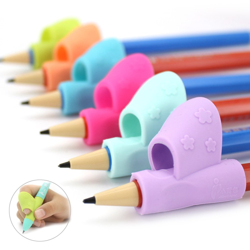 Pencil Grip,Liangxiang Writing Tools Grips Ergonomic Writing Aid for Kids and Adults Comfortable Pack 12 Count,Assorted Colors (Light blue + blue + yellow( 4 pcs per color))