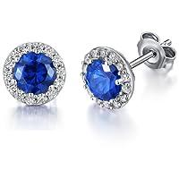 Han han Platinum-plated Halo Stud Earrings,S925 Sterling Silver Round Cut Cubic Zirconia Halo Stud Earrings,10mm - Nickel Free,Sterling Silver Hypoallergenic Stud Earrings,1 Pair