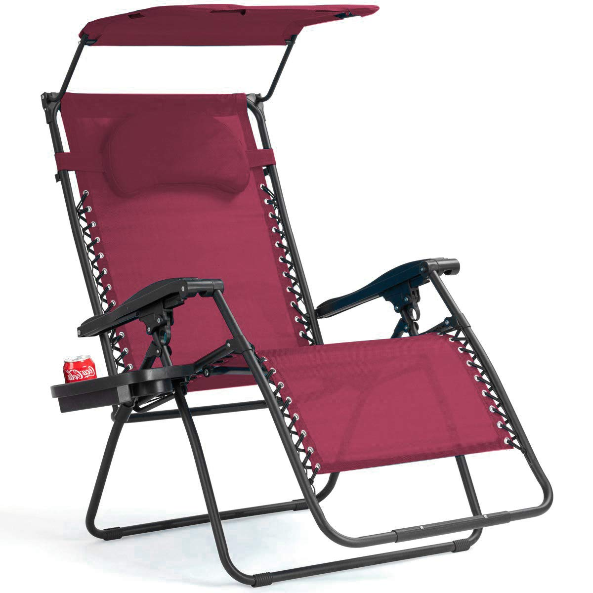 Goplus Folding Zero Gravity Lounge Chair Wide Recliner for Outdoor Beach Patio Pool w/Shade Canopy (Wine Zero Gravity Chair) by Goplus