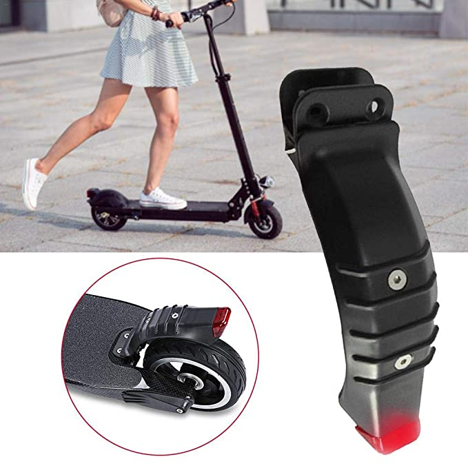 Krystallove - Guardabarros Trasero para Scooter eléctrico con luz de Seguridad, Universal, de Carbono, 5,5 Pulgadas, Freno de Rueda Trasera, ...