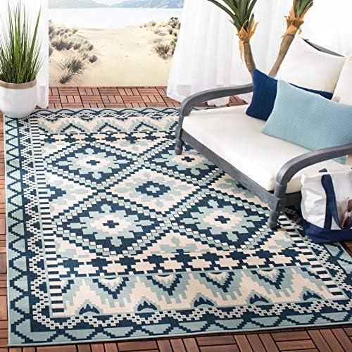 Safavieh Veranda Collection VER096 Boho Indoor/ Outdoor Non-Shedding Stain Resistant Patio Backyard Area Rug