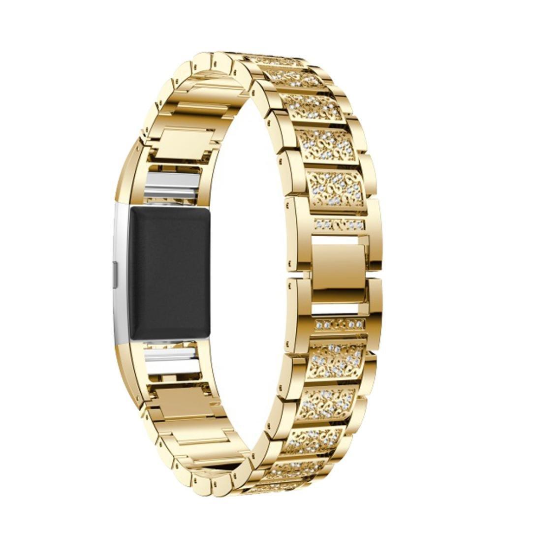 Fitbit Charge 2スマート時計バンド、sipring交換バンド軽量Luxury Crystalステンレススチールメタルリストバンドバンドストラップブレスレットfor Fitbit Charge 2 Smart Watch  ゴールド B07B7J8321