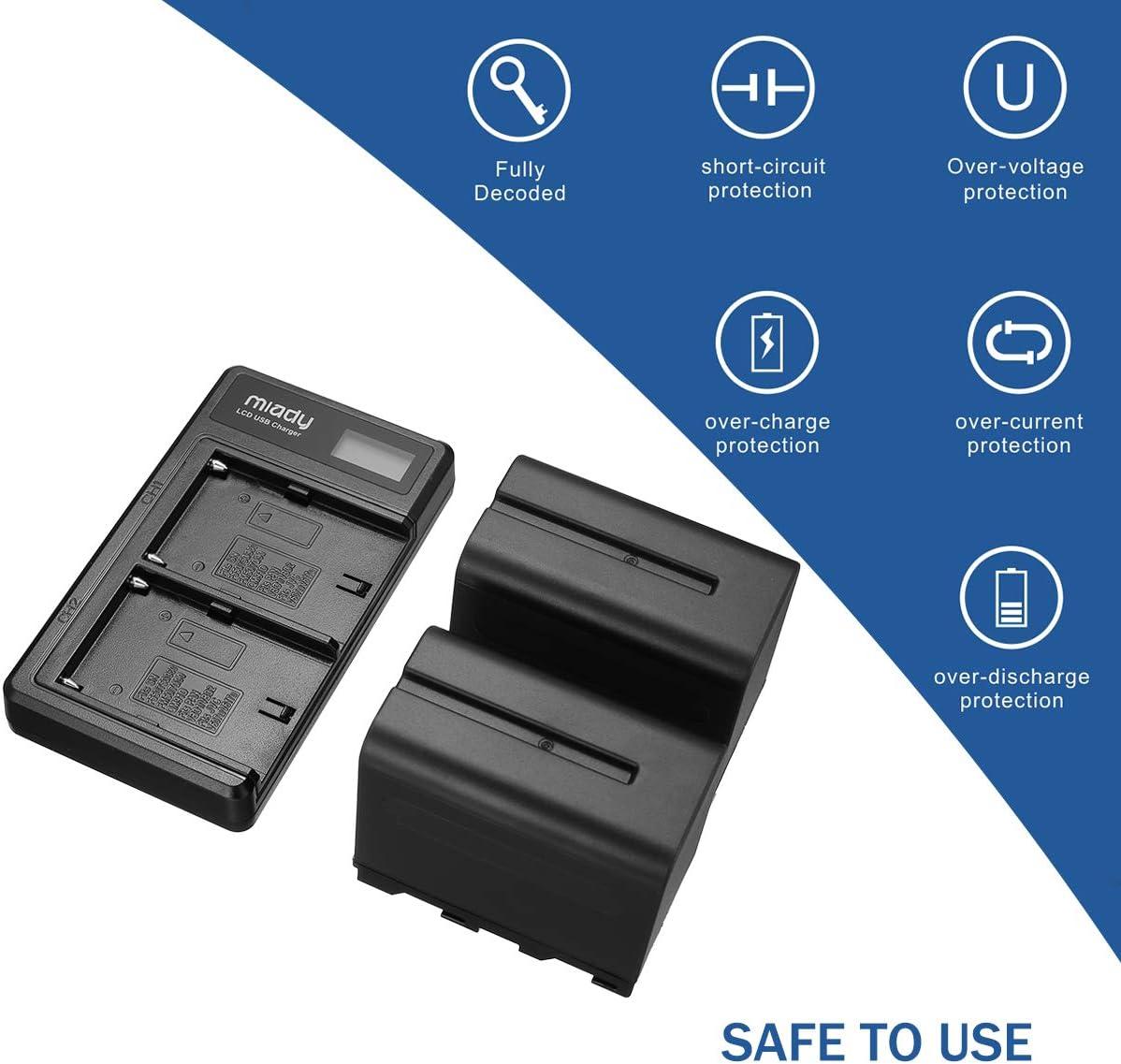FDR-AX1 HDR-FX1 HDR-FX7 Juego de 2 bater/ías y Cargador de bater/ía LCD Dual Compatible con Sony DCR-VX2100 DSR-PD170 DSR-PD150 NP-F960 NP-F930 NP-F950 HDR-AX2000 Miady NP-F970