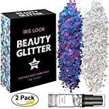 HITOP Cosmetic Chunky Body Glitter Festival Beauty Makeup Decoration, 2 Pack for Body Face Nail Hair Eyes or Lips &DIY Crafts With Long Lasting Free Fix Primer (Set3)
