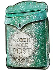 Modern Wall Mount Lockable Mailbox Wall-Mounted Post Letter Box, Vintage Iron Country House with Flap Wall Decoration Waterproof Lockable Large Capacity Mailbox