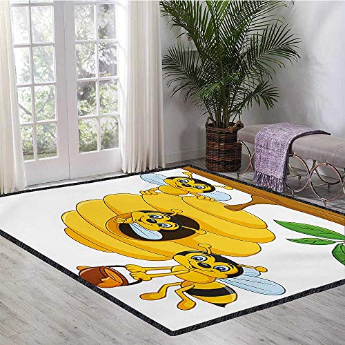 Nursery, Girls Rooms Kids Rooms Nursery Decor Mats, Branch of Tree with Beehive and Bees Honey Funny Insect Hardworking Mascot, Floor Mat Pattern 5x8 Ft Yellow Brown Green