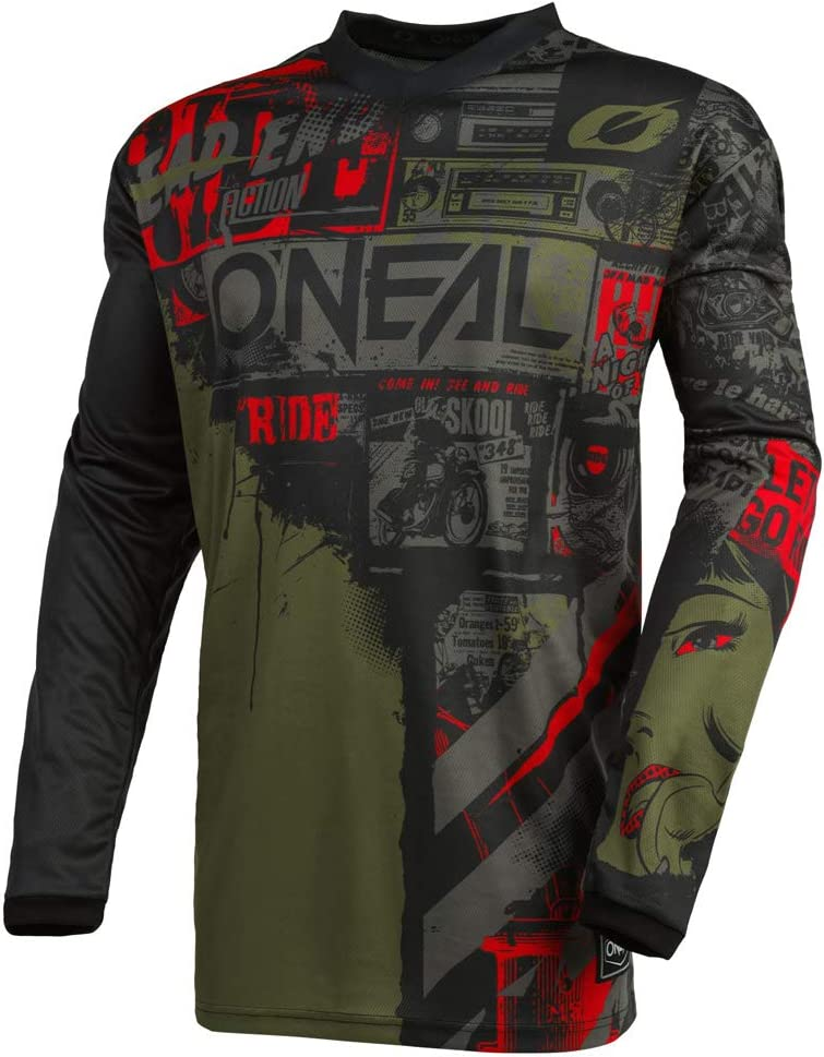 ONeal Element Ride Black//Green Men motocross MX off-road dirt bike Jersey Pants combo riding gear set Pants W30 // Jersey Small