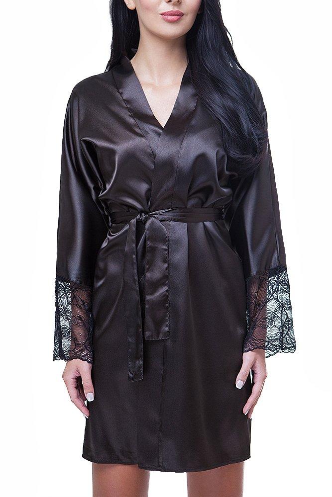 Damen Morgenmantel Kimono Nachtwäsche Satin Spitze kurz: Amazon.de ...