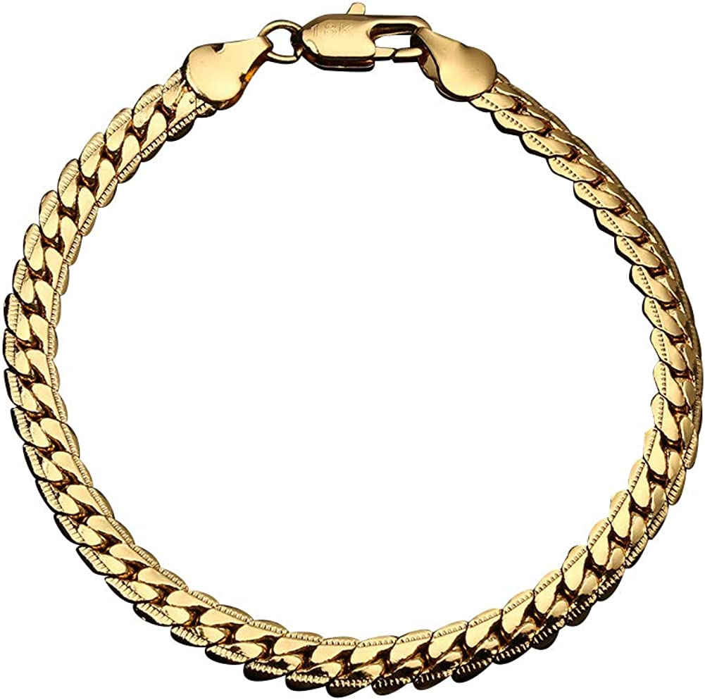 """Fashion Bracelet Chain for Men/'s//Women/'s 18K Yellow Gold Filled 8/"""" Link Jewelry"""