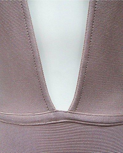 Maketina Sexy Dos Nu Dos Ouvert Chaîne Profonde Robe Bandage Midi Col V Nu