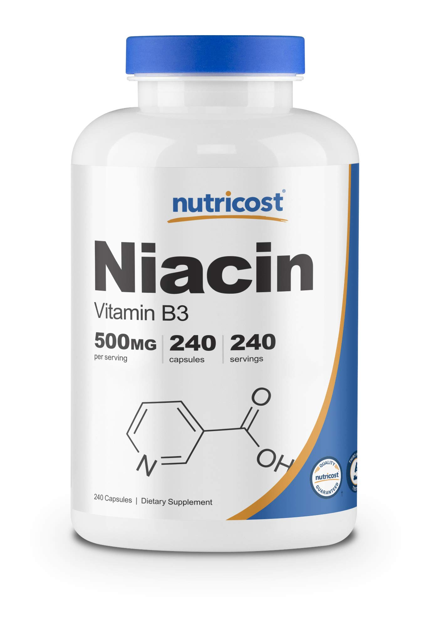 Nutricost Niacin (Vitamin B3) 500mg, 240 Capsules - with Flushing, Non-GMO, Gluten Free