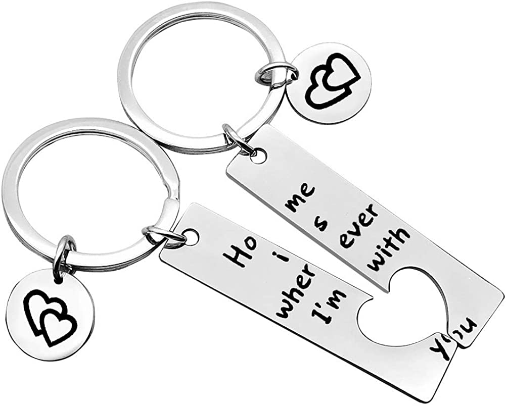 Couple keychain Home Keychain Home is Wherever I'm with You Keychain Set Family Gift Gift for Wife Husband girlfriend boyfriend