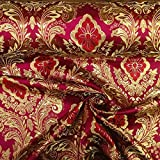 """Metallic Floral Brocade Fabric 60"""" By Yard in Red Gold White Purple Blue Green (Burgundy / Gold)"""