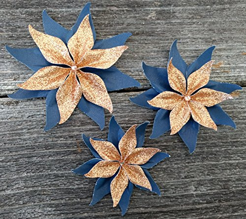 Rose Gold Glitter and Navy Blue Set Of 3 Paper Layered Rhinestone Bling Flower Wedding Decoration Favor Card Making from Bella Supply Boutique