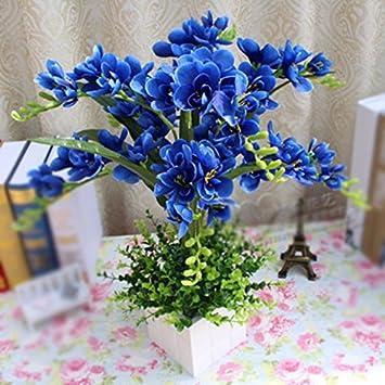 Xphopoq Kunstliche Blumen Blumen Orchidee Blau Holz Flower Pot