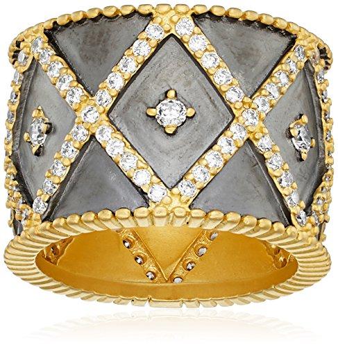 Gold Cigar Band - Freida Rothman Womens Signature Geo Stripe Cigar Band Ring, Black & Gold, Size 7