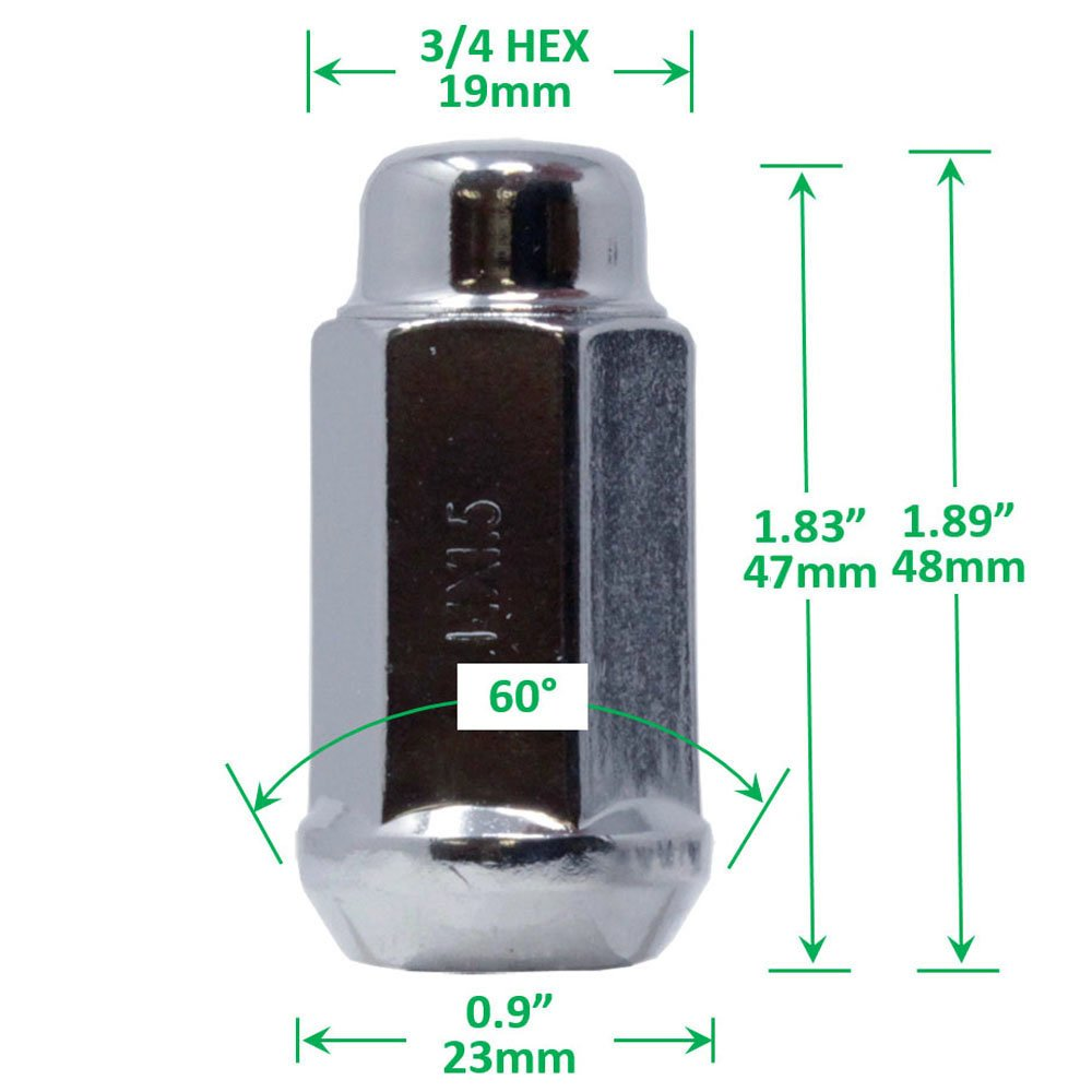 Bulge Acorn After Market Lug Nut M14x1.5 Chrome Plating Thread 14mmx1.5 3//4 Hex WheelGuard 1959L Pack of 32 1.72 Tall 1.72 Tall 3//4 Hex