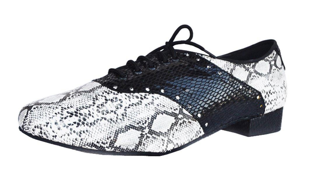 TDA Men's Latin Snakeskin Black Leather Lace-up Fashion Comfort Tango Ballroom Modern Dance Shoes 8.5 B(M) US