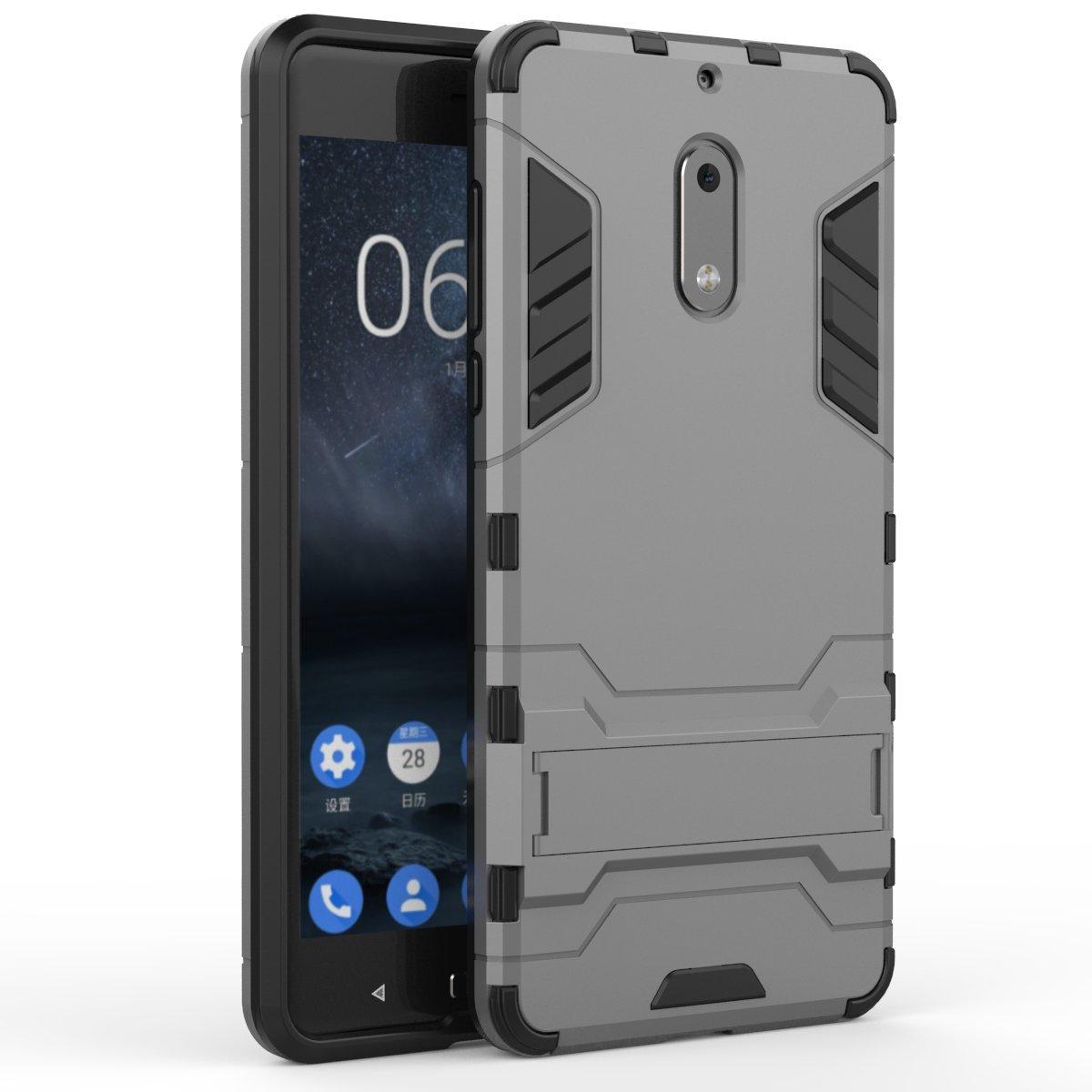Ming Blue CaseFirst Nokia 6 Custodia Hybrid Cover Antiurto Combo Armor Bumper Protettiva Anti-Impronte Anti-Scivolo 2 in 1 Rigida Custodia per Nokia 6